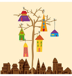 Little town tree vector image vector image