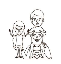 Sketch contour half body super dad hero with girl vector