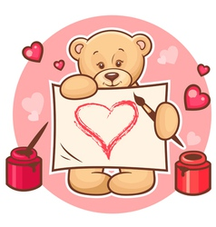 valentine teddy with sign vector image vector image