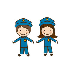colorful caricature couple cops costume vector image