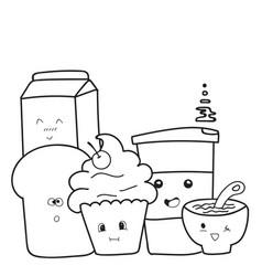 Funny cute of hand drawn breakfast cartoon vector