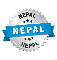 Nepal round silver badge with blue ribbon vector image vector image