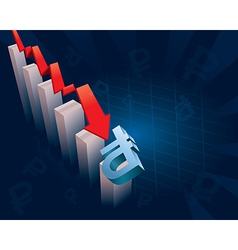 Russian Ruble currency symbol crashing vector image