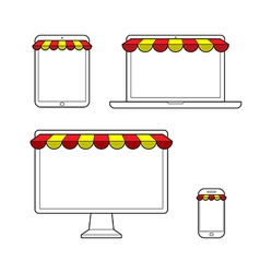 Set of digital devices for online shopping vector image vector image