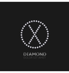 X letter with diamonds vector image vector image