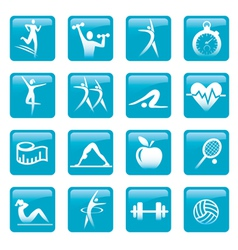 Blue fitness icons buttons vector