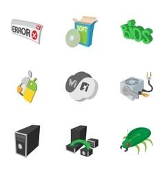 Computer maintenance icons set cartoon style vector