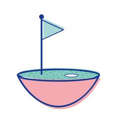 Golf flag play game field vector