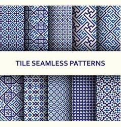 mosaic seamless patterns set modern geometric vector image