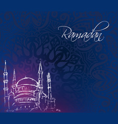 mosque tower on dark blue background vector image