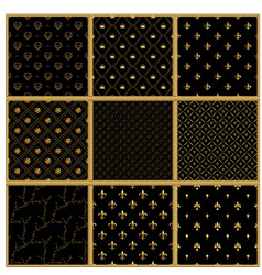 set of seamless gold patterns luxury vector image vector image