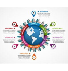 Abstract infographic in earth in centre vector