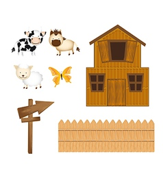 Barn and animals with wooden sign isolated over vector