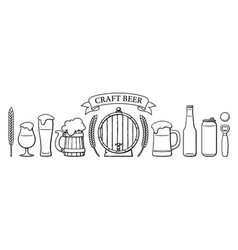 beer objects set beer glasses of different shape vector image