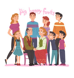 big happy family portrait several generations vector image