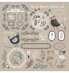 birds twigs and flowers vector image vector image