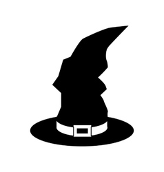 Black witch hat icon simple style vector