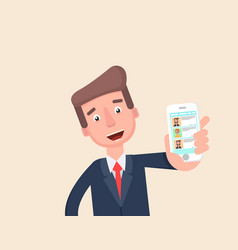 businessman shows the chat app on your phone vector image
