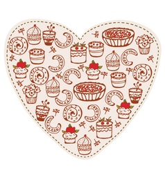 cake heart vector image