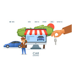 Car leasing service online landing page vector
