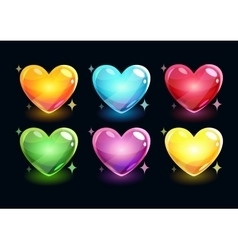 Cartoon glossy hearts set vector