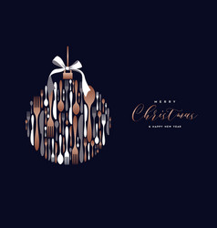 Christmas and new year copper cutlery card vector