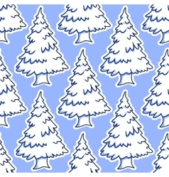 Christmas snowy pine and fir tree seamless pattern vector