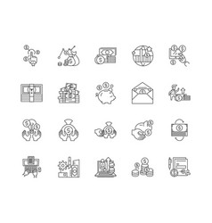 Deposit line icons signs set outline vector