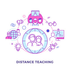 distance teaching outline flat concept vector image