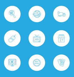 ecommerce icons line style set with best choice vector image