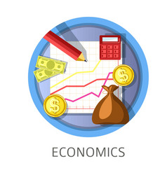 Economics studies themed concept logo vector