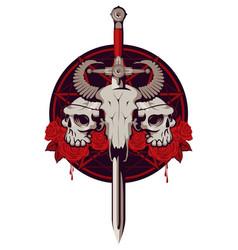 Emblem with skulls sword roses and pentagram vector