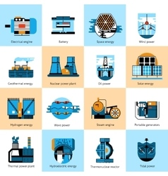 Energy production flat line icons set vector