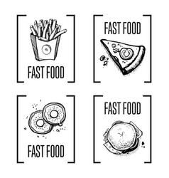 Fast food menu design element set vector