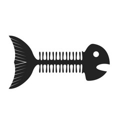 fish skeleton black icon marine bone drawing vector image