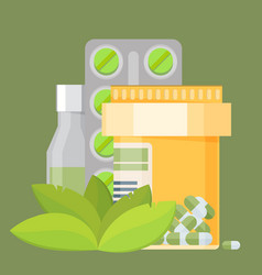 Flat icon of tablets and leaves alternative vector