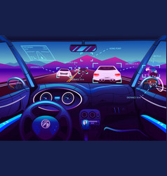 futuristic vehicle salon electric smart car vector image