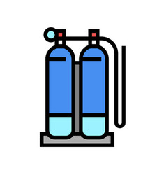 Gas cylinders for welding color icon vector