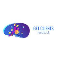 Get clients feedback isometric 3d banner header vector