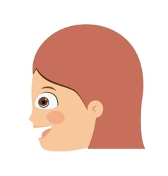 Girl head profile isolated icon design vector