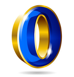 golden and blue number 0 isolated on whte vector image