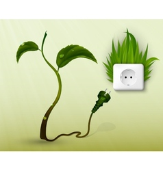 Green grass and a socket with plugs vector