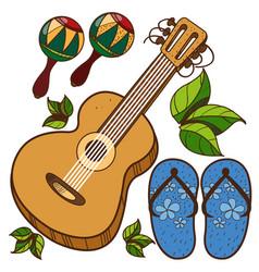 Guitar maracas beach flip flops color of a summer vector