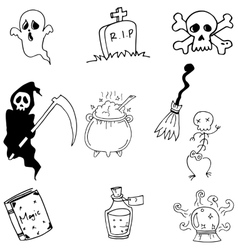Halloween doodle on white backgrounds vector