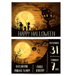 Halloween party invitation set with spooky castle vector