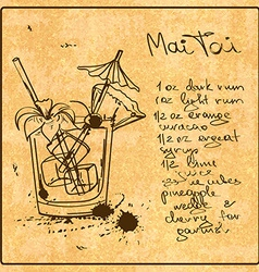 Hand drawn Mai Tai cocktail vector image
