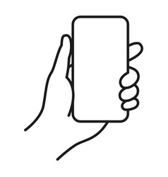Hand holding phone digital communication line art vector