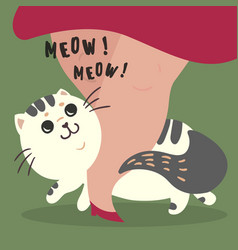 Happy cat and his master owner meow text vector