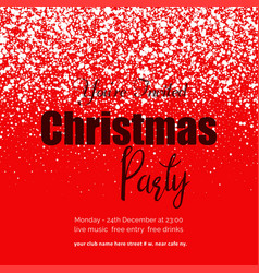 happy christmas party snow red background vector image