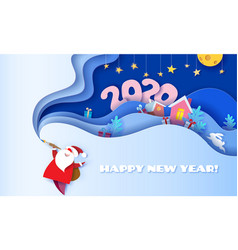Happy new year 2020 3d paper cut art vector